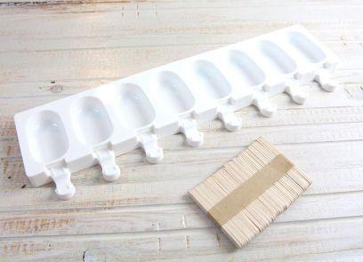 Eisbackform 8 Portionen klein mit Sticks
